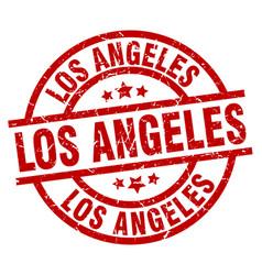 Los angeles red round grunge stamp vector