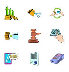 Money transaction icons set cartoon style vector