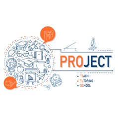 Project icons collection for education vector