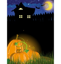 Pumpkins and haunted house vector image vector image