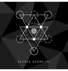 Sacred geometry sign on black background vector image vector image