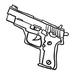 simple black and white gun vector image vector image