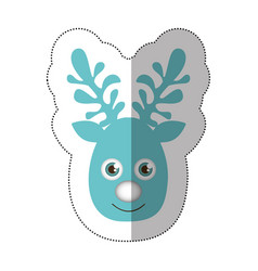 Sticker blue silhouette cute face reindeer animal vector
