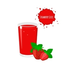 strawberry juice with ripe strawberry vector image vector image