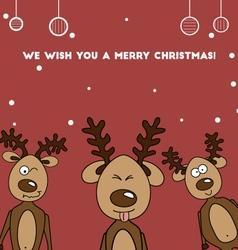 Three Jolly colorful reindeer deer vector image