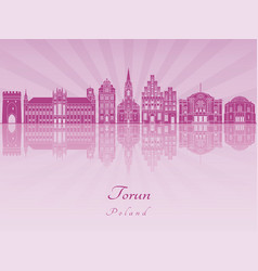 Torun skyline in purple radiant orchid vector