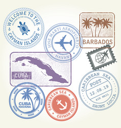 travel stamps set caribbean sea theme vector image