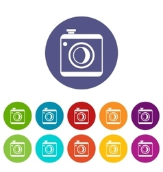 Vintage photo camera set icons vector image