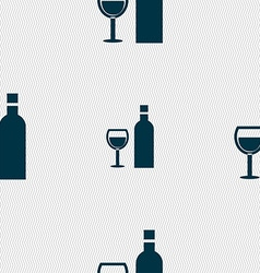 Wine icon sign seamless pattern with geometric vector
