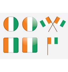 badges with flags of Ivory Coast vector image