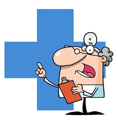 Doctor holding a clipboard over a blue cross vector