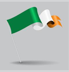 irish pin wavy flag vector image