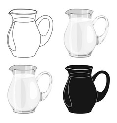 glass jug of milk icon in cartoon style isolated vector image