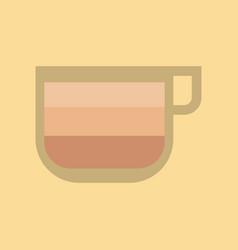 Flat icon on background coffee cup latte macchiato vector