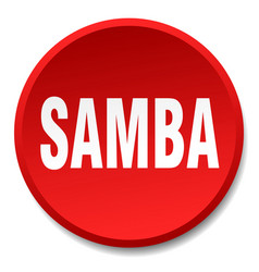 Samba red round flat isolated push button vector