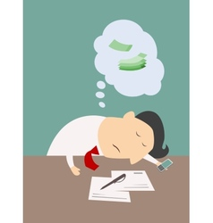 Exhausted businessman asleep at his desk vector