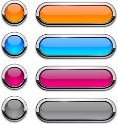 rounded buttons on white vector image
