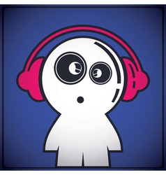 Funny boy with headphones vector