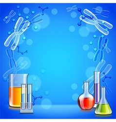 Science background with test tubes and flasks vector