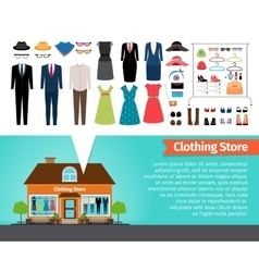 Clothing store set of clothes and building vector