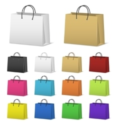 Blank paper shopping bags set isolated on white vector