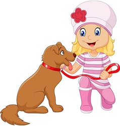 Cartoon girl with her dog isolated vector