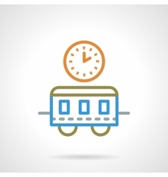 Simple color line train time icon vector