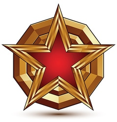 3d stylish template with pentagonal red star vector