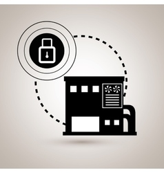 Smart home with padlock isolated icon design vector