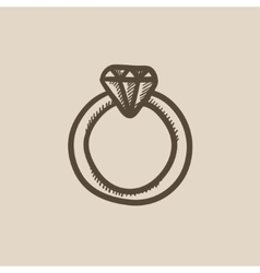 Diamond ring sketch icon vector