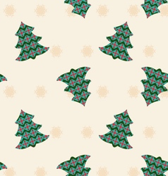 background with Christmas trees and snowflakes vector image vector image