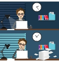 Businessman working night and day over time work vector