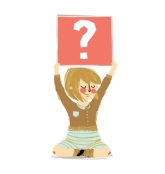 Cartoon girl holding question vector image vector image
