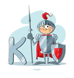 Cartoons alphabet - letter k with funny knight vector