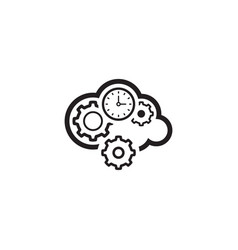 Cloud processing icon flat design vector