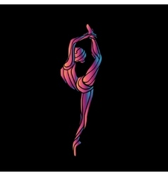 Creative silhouette of gymnastic girl on vector image vector image