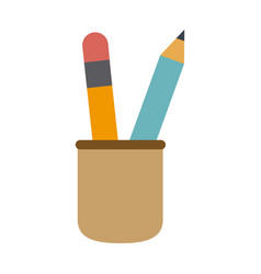 cup with writing utensils pencil in flat design vector image vector image