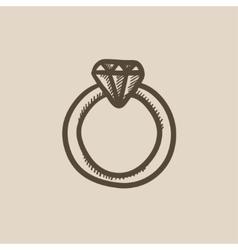 Diamond ring sketch icon vector image