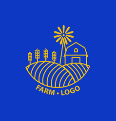 Farm concept logo template with farm landscape vector