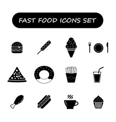 fast food black and white icons set vector image vector image