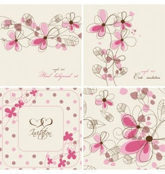 floral cards and seamless patterns vector image vector image