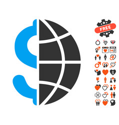 Global business icon with love bonus vector