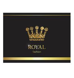 gold crown luxury label emblem or packing logo vector image vector image