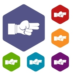 Hand showing two fingers icons set vector image