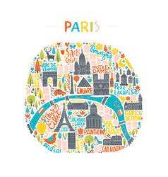 Handdrawn paris map vector
