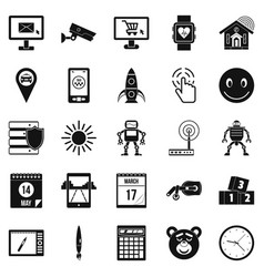 Hardware icons set simple style vector