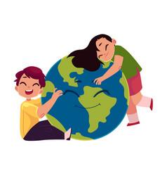 Kids hugging smiling globe earth planet character vector