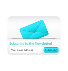 Light subcribe to newsletter website element with vector image