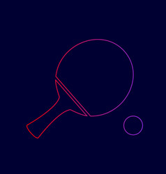 Ping pong paddle with ball line icon with vector