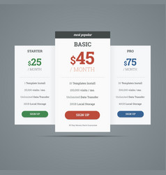 Pricing table with three plans for websites vector image